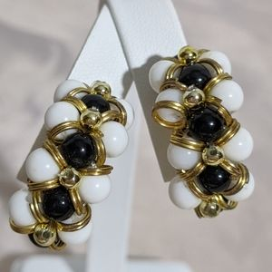 Vintage Gold White & Black Clip Earrings